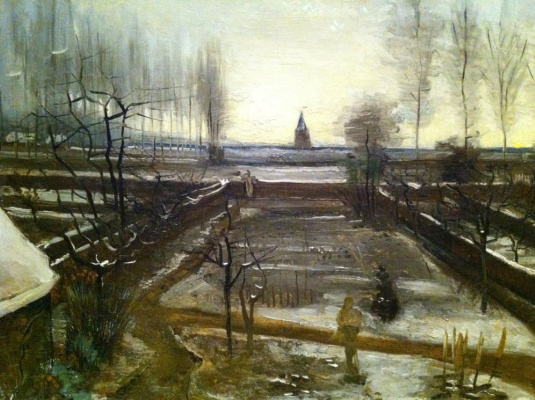 Vincent van Gogh. The garden of the parish priest in the snow, Nuenen