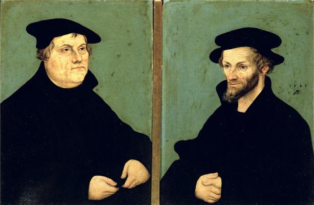 Lucas Cranach the Elder. Portrait of Martin Luther and Philipp Melanchthon