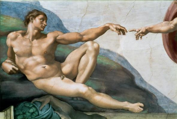 Микеланджело Буонарроти. Сикстинская Капелла. Роспись потолка. Фрагмент: Адам
