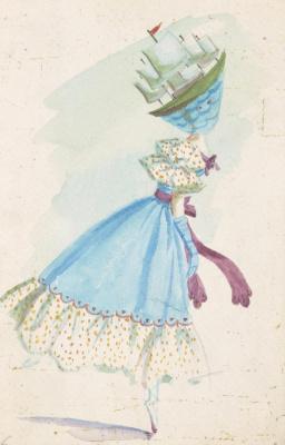 """Доротея Таннинг. Парусник. Дизайн костюма для балета """"Ночная тень"""""""