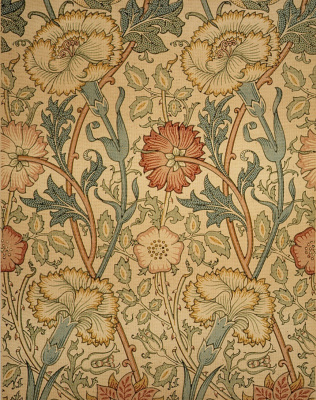 William Morris. Carnations and roses. Design for wallpaper and interior decoration