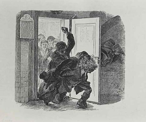 """Адольф фон Менцель. Иллюстрация к """"Разбитому кувшину"""" Генриха фон Кляйста, Адам, спасаясь от кулаков Рупрехта, бросается вон из зала суда"""