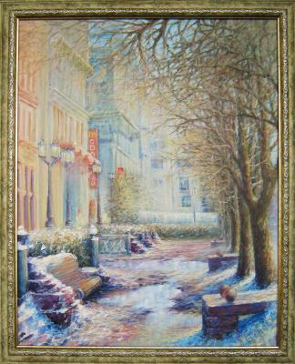 """Andrei Ivanovich Boravik. """"Spring in town"""" (Minsk, Lenin St.)"""