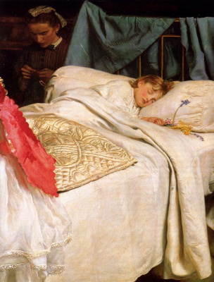 John Everett Millais. Sleeping girl and the governess