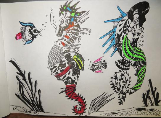 "Николай Николаевич Оларь. Series of stylized drawings: ""Underwater fantasy"" (20)"