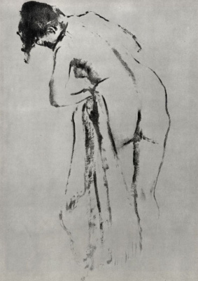 Edgar Degas. Standing naked over the toilet, the figure from the back