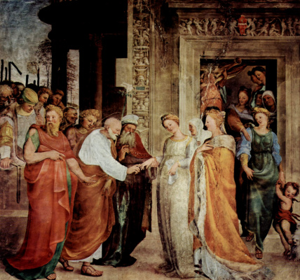 Доменико Беккафуми. Фрески в капелле св. Бенедикта в Сиене, Обручение Марии с Иосифом