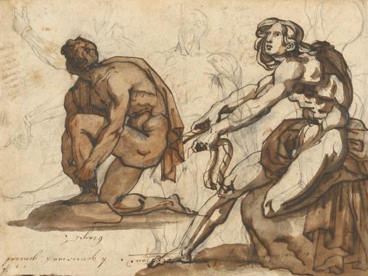 Théodore Géricault. Two classic sculptures. Sketch