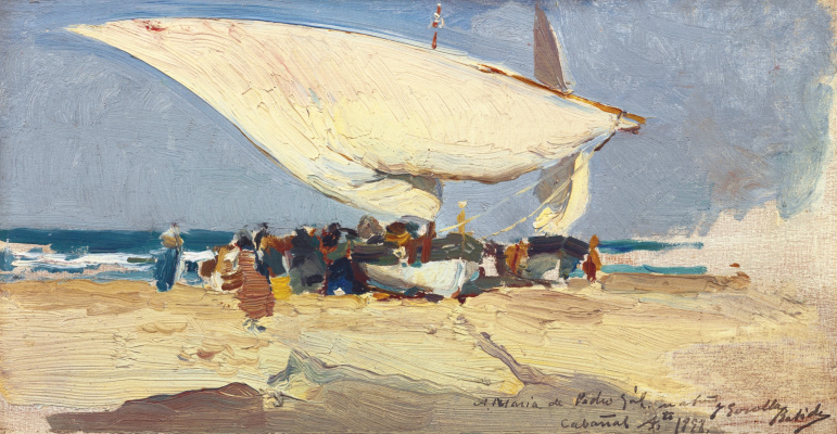 Joaquin Sorolla (Soroya). Return from fishing. The beach in Valencia