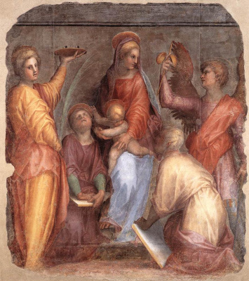Jacopo Pontormo. Mary with the baby Jesus and the saints