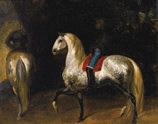 Теодор Жерико. Серая в яблоках лошадь под красным седлом