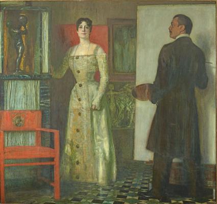 Франц фон Штук. Автопортрет с женой в ателье