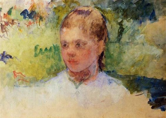 Mary Cassatt. The girl's head. Green background