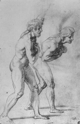 """Raphael Sanzio. Study for the painting """"Transfiguration"""". Sketches of Nude models for the two apostles"""