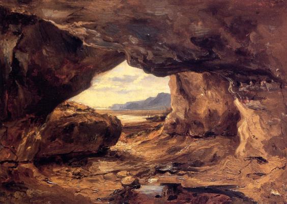 Theodore Rousseau. Cave in a cliff near Granville