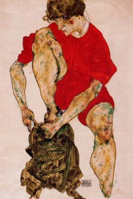Egon Schiele. The woman in red