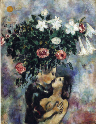 Marc Chagall. Lovers under lilies