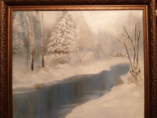Valeria Kostromina. Winter landscape oil on canvas in frame
