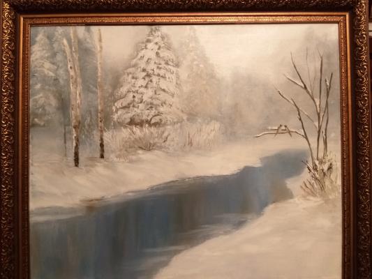 Valeria Kostromina. Winter landscape oil on canvas in frame
