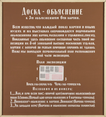 Ilya Iosifovich Kabakov. Explanation board to the three explanations of six paintings