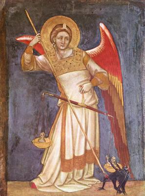 Гварьенто д'Арпо. Картины из капеллы в палаццо Каррара в Падуе. Архангел Михаил взвешивает душу