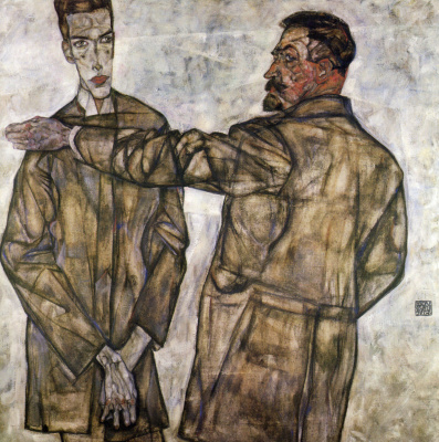 Egon Schiele. Portrait of Henry Binche and his son Otto