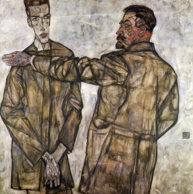 Egon Schiele. Portrait of Henry Binche and his son Otto
