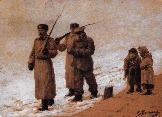 Nikolay Aleksandrovich Yaroshenko. The arrested are. 1891 Cardboard brown, white.