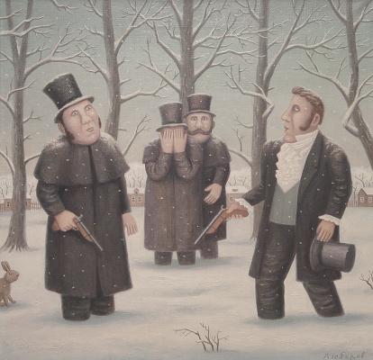 "Vladimir Semenovich Lyubarov. Duel Onegin and Lensky. Series ""Year of Theater in the village of Peremilovo"""
