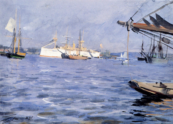 Anders Zorn. The battleship Baltimore in Stockholm Harbor