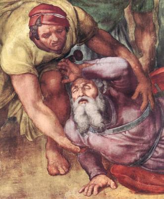 Микеланджело Буонарроти. Обращение Савла. Фрагмент