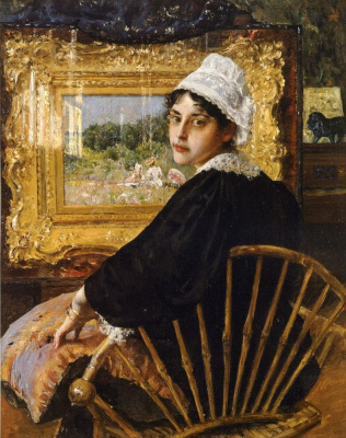 William Merritt Chase. In the Studio. Portrait of the artist's wife