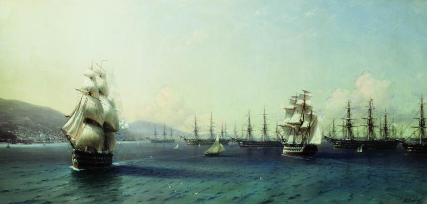 Ivan Aivazovsky. The black sea fleet in Feodosiya