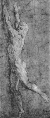 "Raphael Sanzio. Naked young man, hanging on the wall. Sketch for the fresco of ""the Fire in Borgo"""