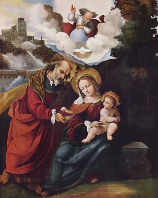 Лудовико Маззолино. Святое семейство в пейзаже