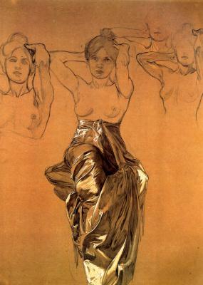 Alphonse Mucha. Study of drapery