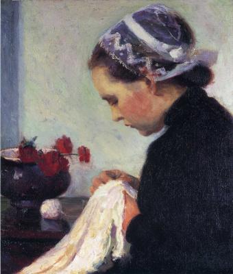 Bernhard Kutmann. A woman embroiders