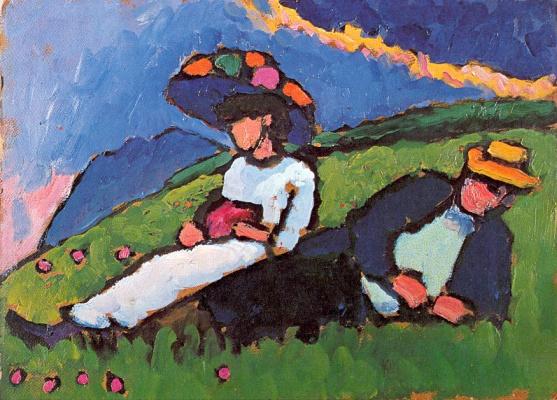 Gabriele Münter. In the meadow. Marianna Vereffkin and Alexei Jawlensky