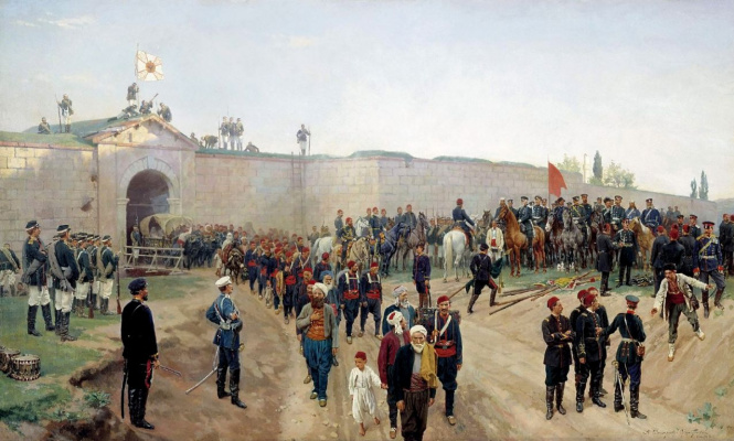 Nikolai Dmitrievich Dmitriev-Orenburg. The surrender of the fortress Nikopol July 4, 1877