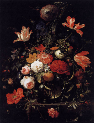 A bouquet of flowers and a sprig of orange