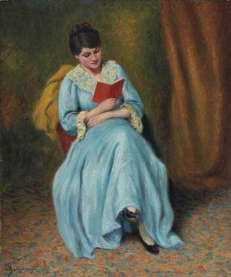 Федерико Дзандоменеги. Читающая женщина в голубом
