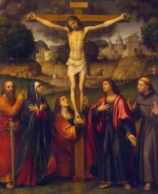 Бернардино Луини. Распятие с Мадонной, святыми Павлом, Марией Магдалиной, Иоанном и Франциском