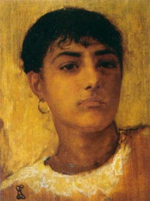 Edwin Longsden Long. Head of a young girl