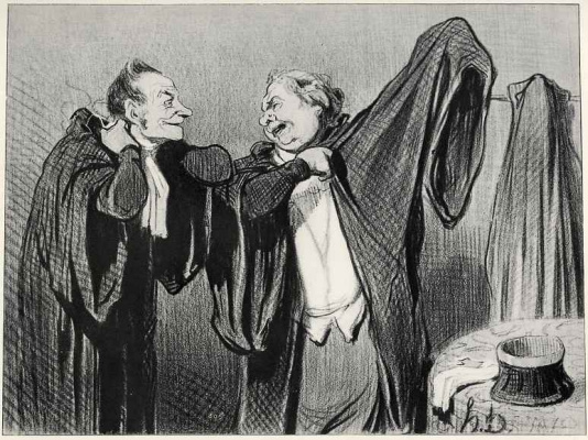 """Honore Daumier. """"Today, dear colleague, You are against me for the same thing, which I defended three weeks ago. And I'll post You something"""