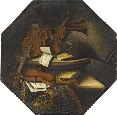 Bartolomeo bettera. Still life with musical instruments on a stone stand