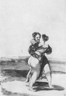 Francisco Goya. Album with a black field, the sheet 36: Two covering each other's women