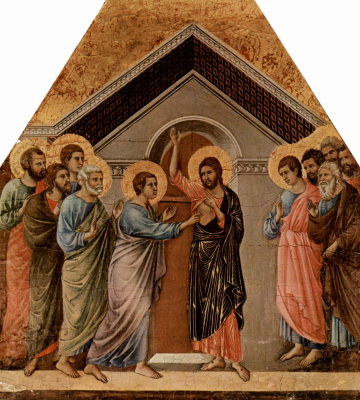 Duccio di Buoninsegna. Maesta, altar of Siena Cathedral, the flip side, the Unbelief of Thomas