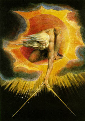 "William Blake. The Creator of the universe. The frontispiece to the poem ""Europe: a prophecy"""