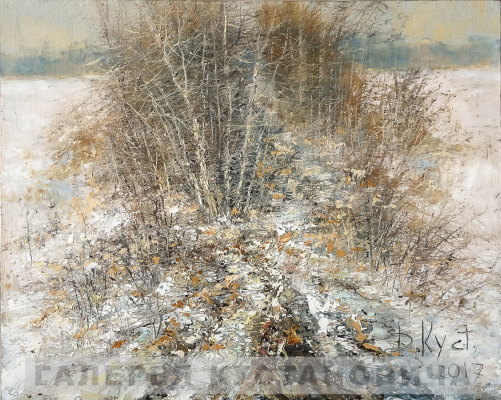 Dmitry Alexandrovich Kustanovich. Thickets near the stream. Thaw