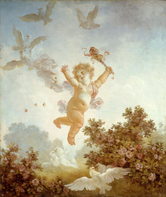 "Jean-Honore Fragonard. Love is hilarious. From series of paintings ""Love adventure"""